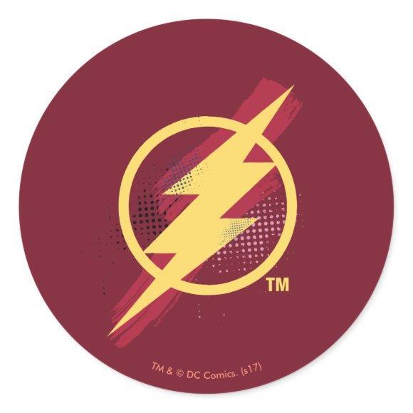 Justice League   Brush & Halftone Flash Symbol Classic Round Sticker