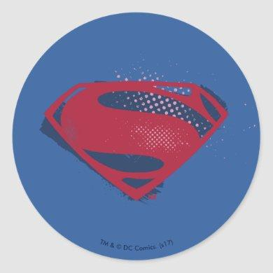 Justice League | Brush & Halftone Superman Symbol Classic Round Sticker