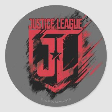 Justice League | Brushed Paint JL Shield Classic Round Sticker