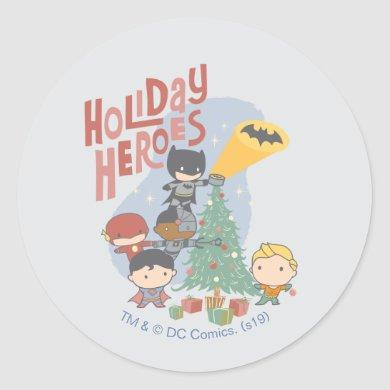 Justice League Chibi Holiday Tree Decorating Classic Round Sticker