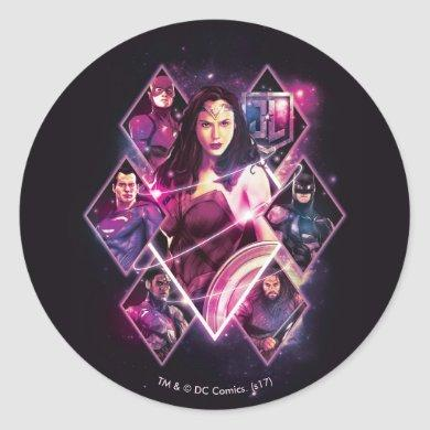 Justice League   Diamond Galactic Group Panels Classic Round Sticker