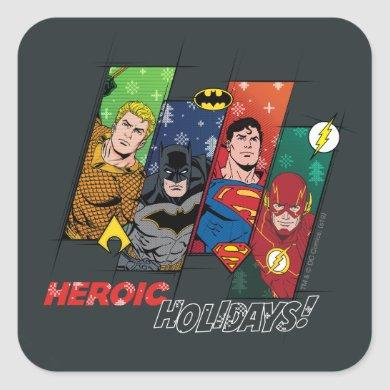 """Justice League """"Heroic Holidays!"""" Square Sticker"""