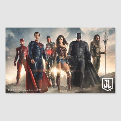 Justice League | Justice League On Battlefield Rectangular Sticker