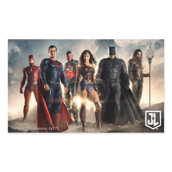 Justice League   Justice League On Battlefield Rectangular Sticker