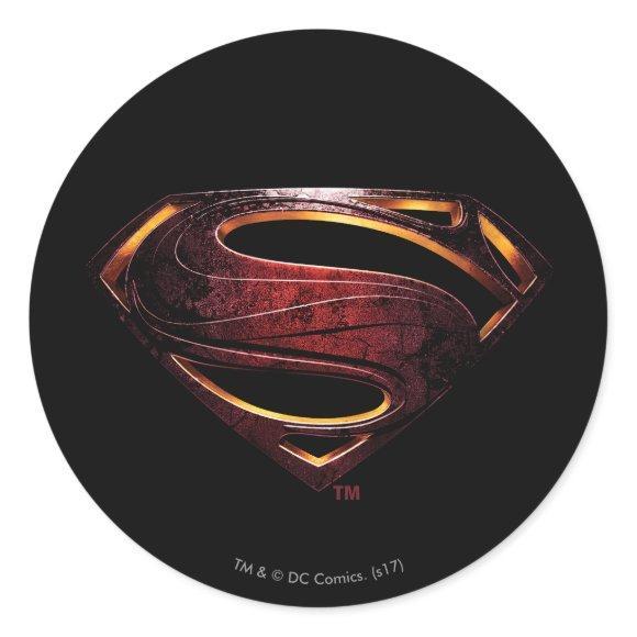 Justice League   Metallic Superman Symbol Classic Round Sticker