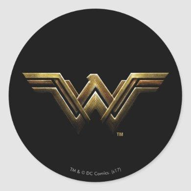 Justice League | Metallic Wonder Woman Symbol Classic Round Sticker