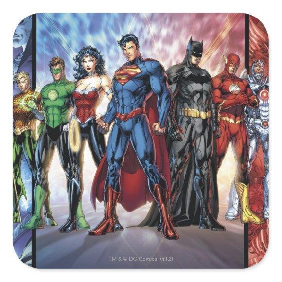Justice League   New 52 Justice League Line Up Square Sticker