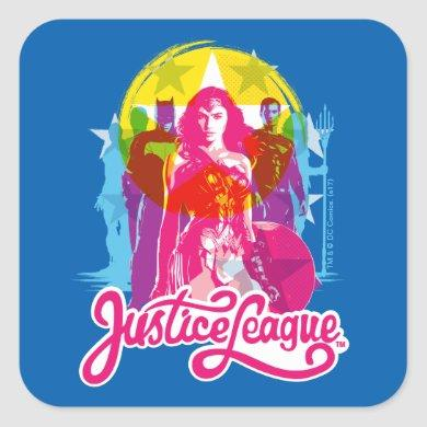 Justice League   Retro Group & Logo Pop Art Square Sticker