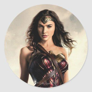 Justice League | Wonder Woman On Battlefield Classic Round Sticker
