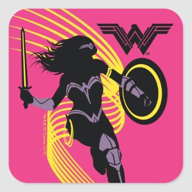 Justice League | Wonder Woman Silhouette Icon Square Sticker