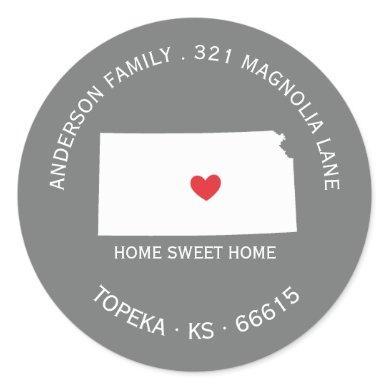 KANSAS State   New Home Address Label Sticker