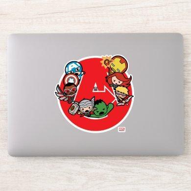 Kawaii Avengers Inside A-Logo Sticker