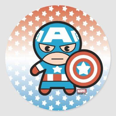Kawaii Captain America With Shield Classic Round Sticker