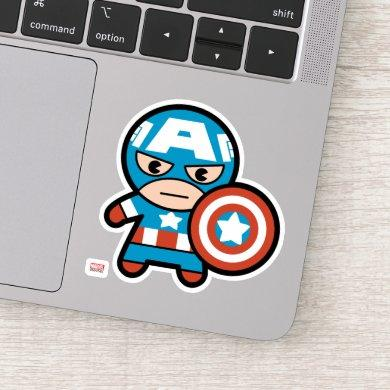 Kawaii Captain America With Shield Sticker