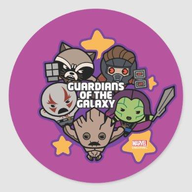 Kawaii Guardians of the Galaxy Star Graphic Classic Round Sticker