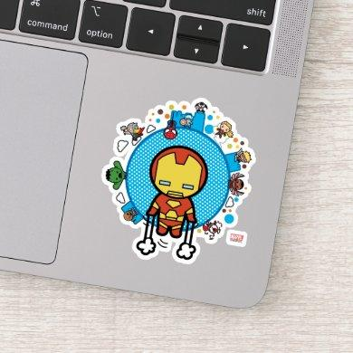 Kawaii Iron Man With Marvel Heroes on Globe Sticker