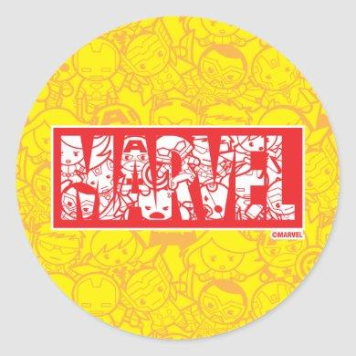 Kawaii Marvel Logo With Super Hero Pattern Classic Round Sticker