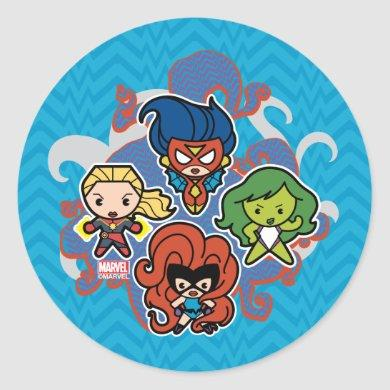 Kawaii Marvel Super Heroines Classic Round Sticker