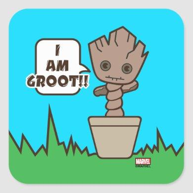 Kawaii Potted Groot Square Sticker