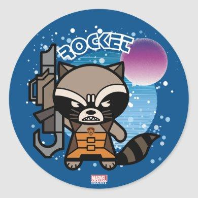 Kawaii Rocket Raccoon In Space Classic Round Sticker