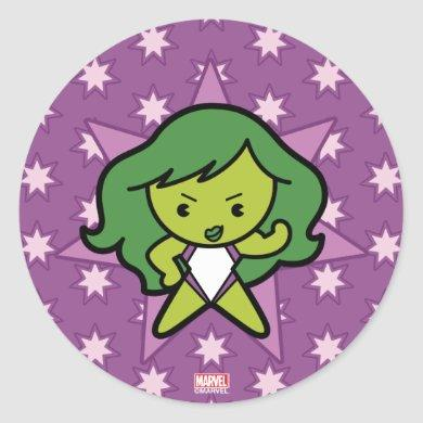 Kawaii She-Hulk Flex Classic Round Sticker