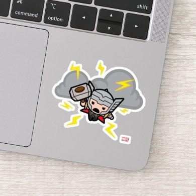 Kawaii Thor With Lightning Sticker