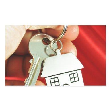 Keys for a new home! rectangular sticker