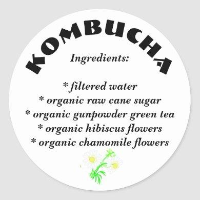 Kombucha List of Ingredients Stickers