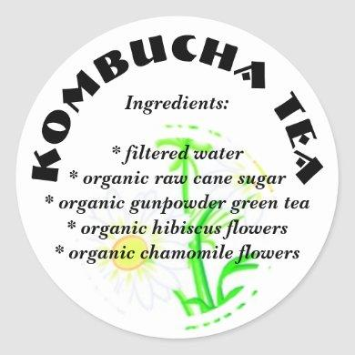 Kombucha Tea  - Custom Ingredients List Stickers