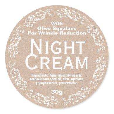 Kraft Night Cream Moisturizer Lotion Classic Round Sticker