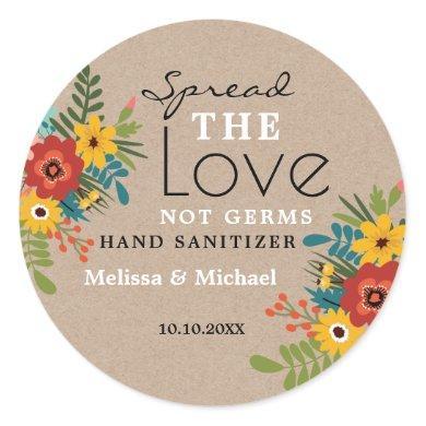 Kraft Spread Love Hand Sanitizer Floral Wedding Classic Round Sticker