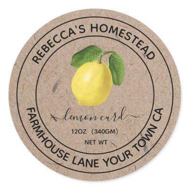 Lemon Curd Kraft Paper Canning Jar Labels