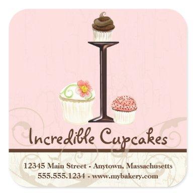 Letter I Monogram Cupcake Logo Business Stickers
