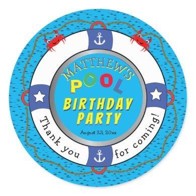 Life Preserver Boy Birthday Pool Party Classic Round Sticker