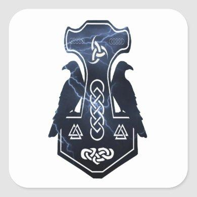 Lighting Thor's Hammer Square Sticker