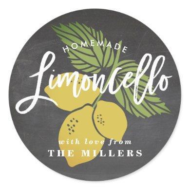 Limoncello label, chalkboard background classic round sticker