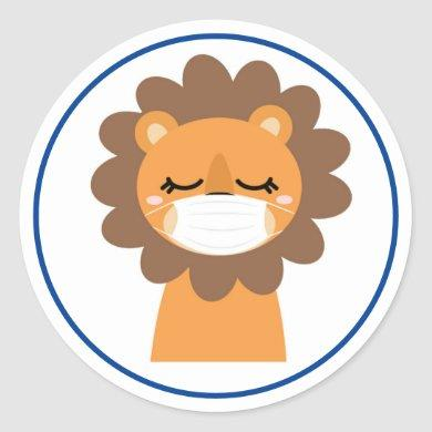 LION WEARING MASK COVID-19 Classic Round Sticker
