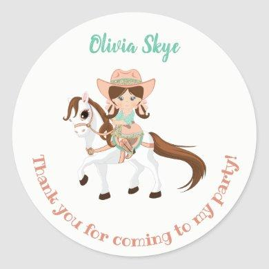 Little Cowgirl on Horse Girls Birthday Classic Round Sticker