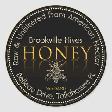 Local Honey Label Black and Gold with Bee