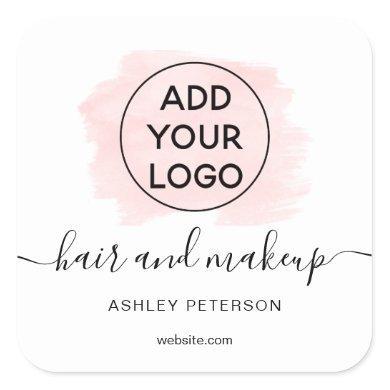 Logo pink brushstroke typography hair makeup square sticker