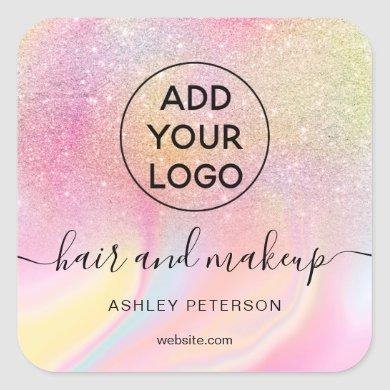 Logo pink rainbow glitter marble chic hair makeup square sticker
