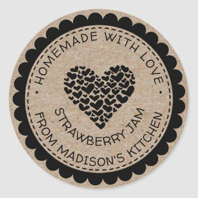 Made With Love Kraft Paper Heart Jam Canning Label