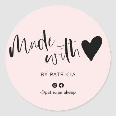 Made with love script minimalist black and pink classic round sticker