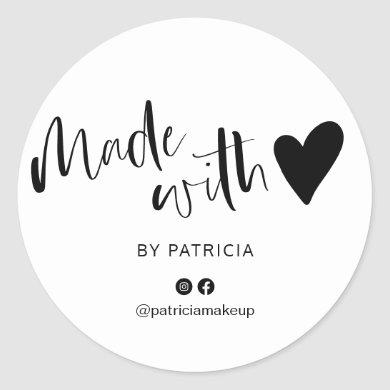 Made with love script minimalist black and white classic round sticker