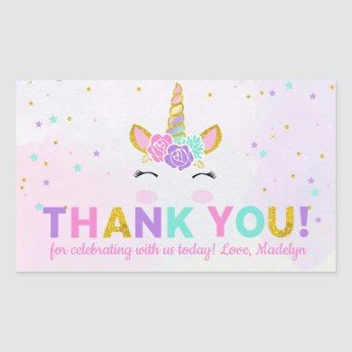 Magical Unicorn Glitter Birthday Favor Thank You Rectangular Sticker