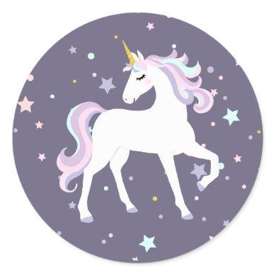 Magical Unicorn Round Sticker. Classic Round Sticker