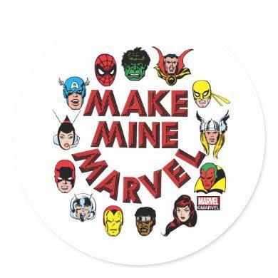 """Make Mine Marvel"" Hero Graphic Classic Round Sticker"