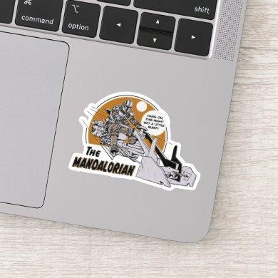 Mandalorian and Child on Bike Retro Illustration Sticker
