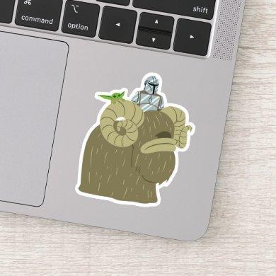 Mandalorian and Child Riding Bantha Illustration Sticker