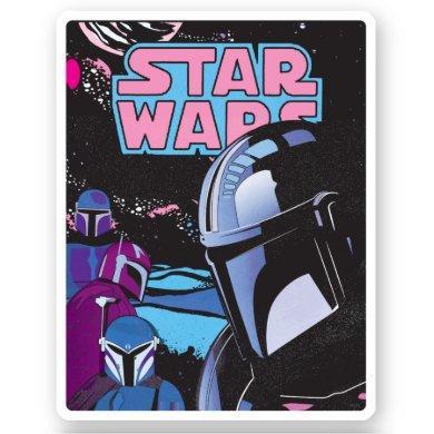 Mandalorian Pink and Purple Comic Cover Sticker